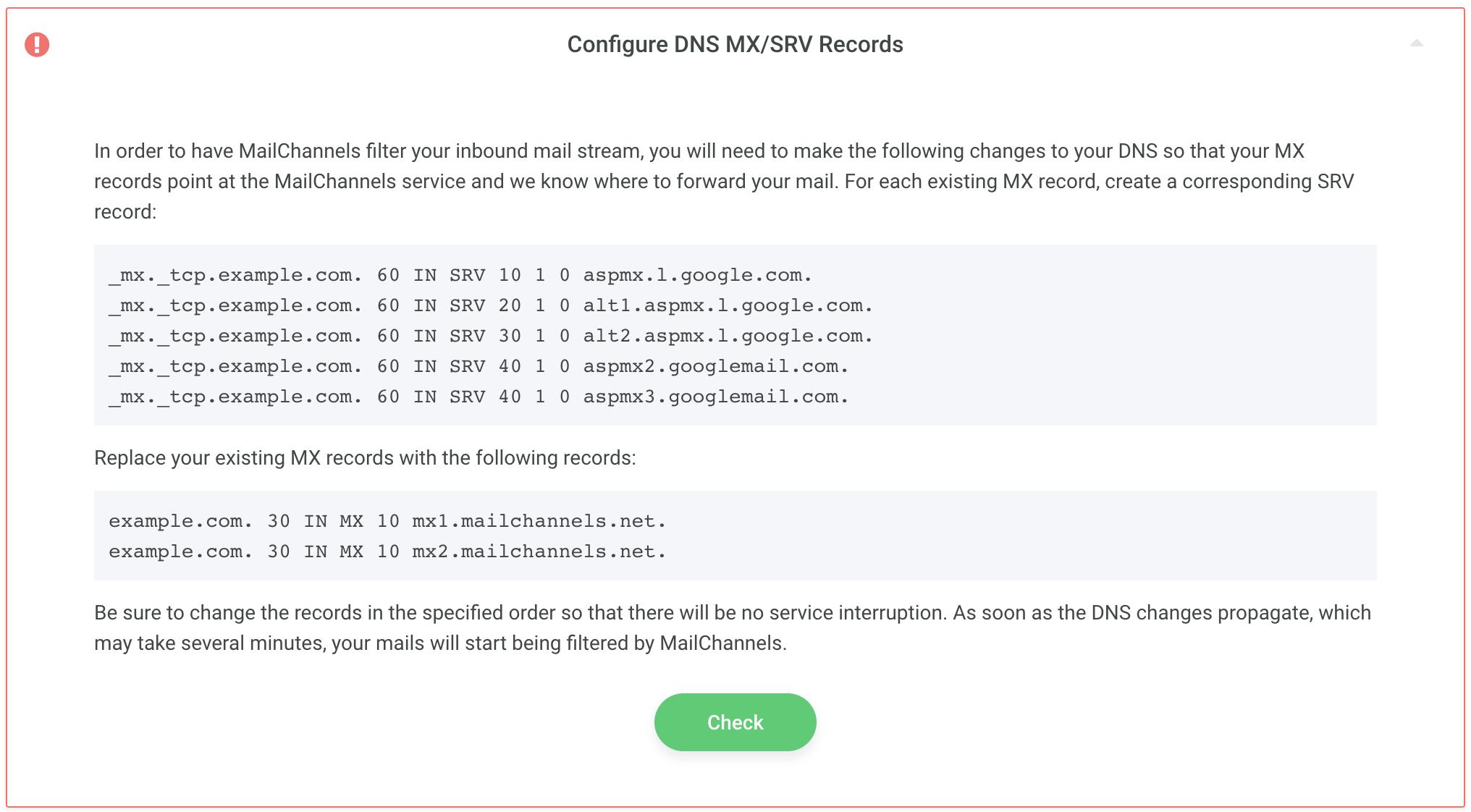Configure DNS MX/SRV records – Help Center